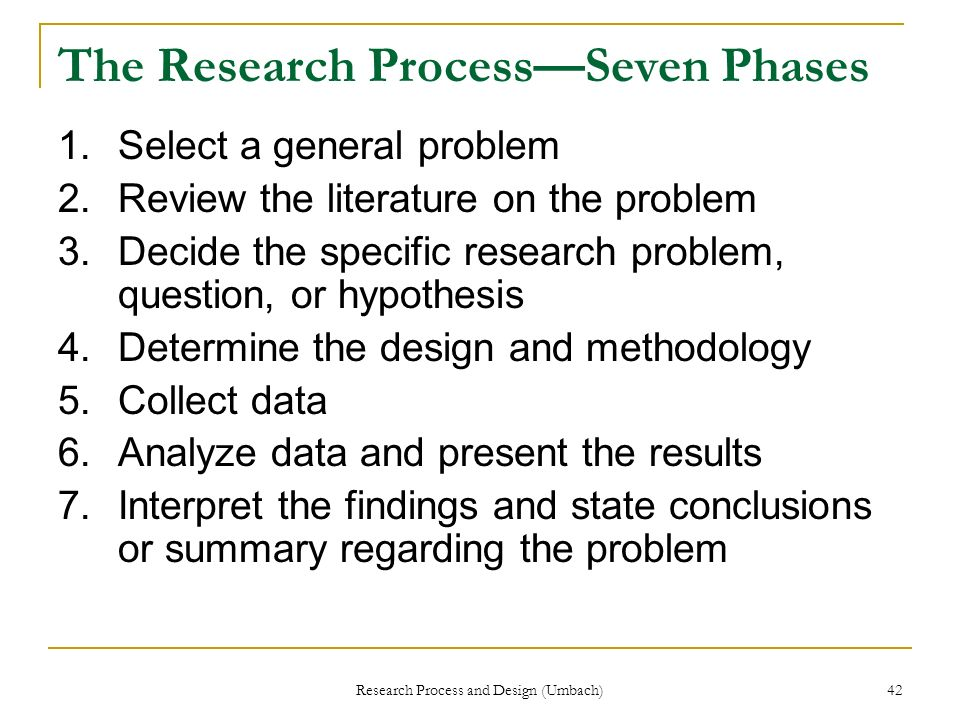 The Research Process—Seven Phases