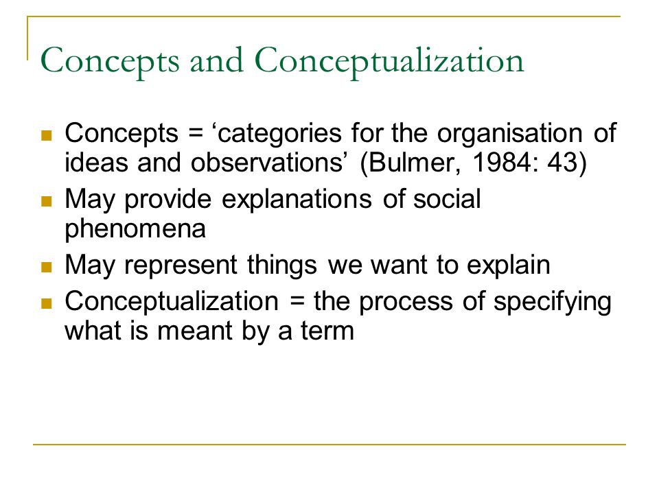 Concepts and Conceptualization