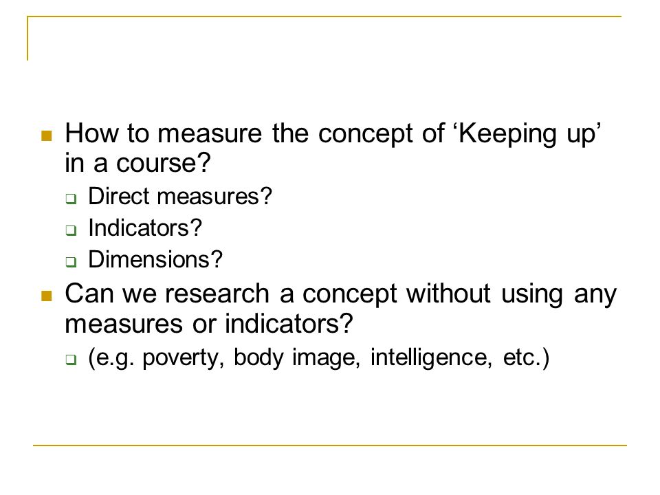 How to measure the concept of 'Keeping up' in a course