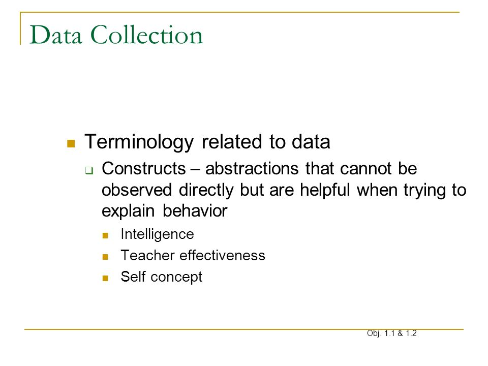 Data Collection Terminology related to data