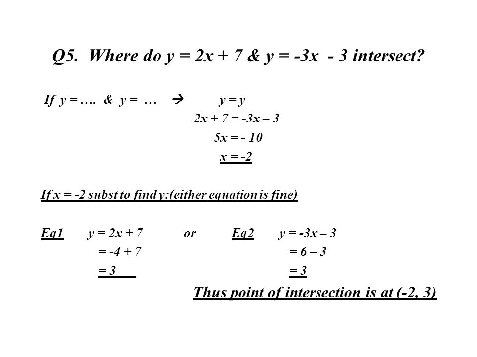 Q5. Where do y = 2x + 7 & y = -3x - 3 intersect