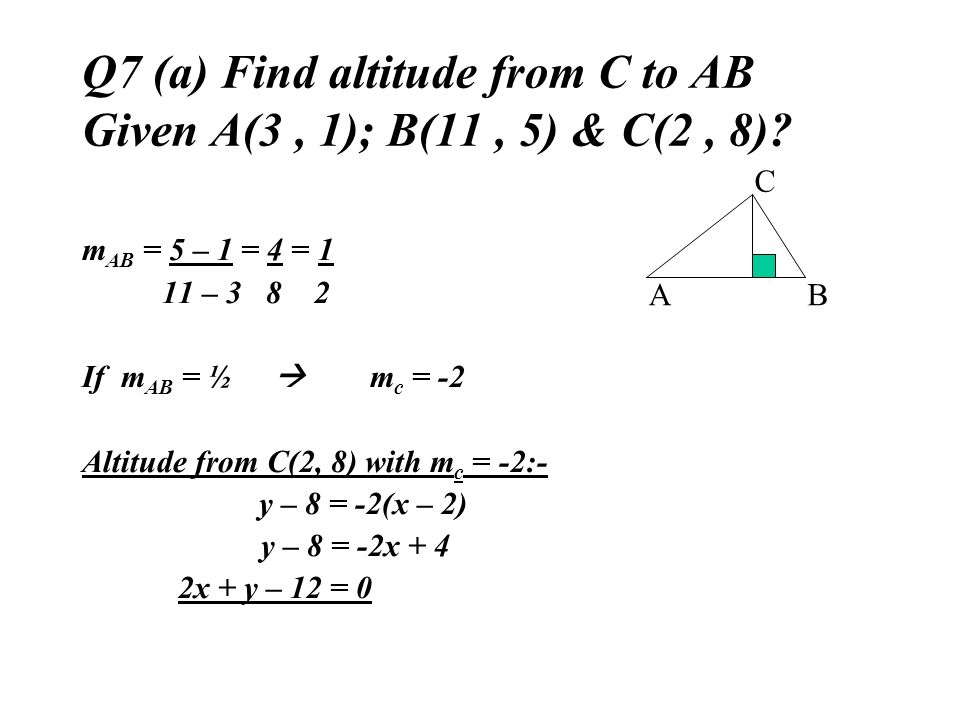 Q7 (a) Find altitude from C to AB Given A(3 , 1); B(11 , 5) & C(2 , 8)