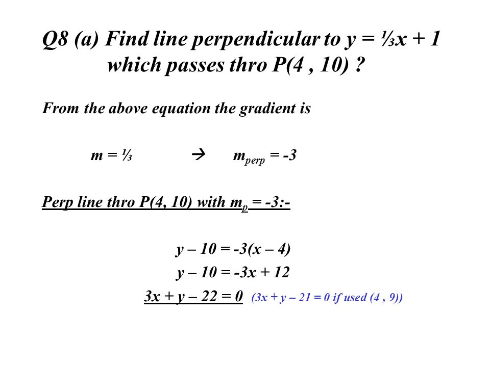 Q8 (a) Find line perpendicular to y = ⅓x + 1