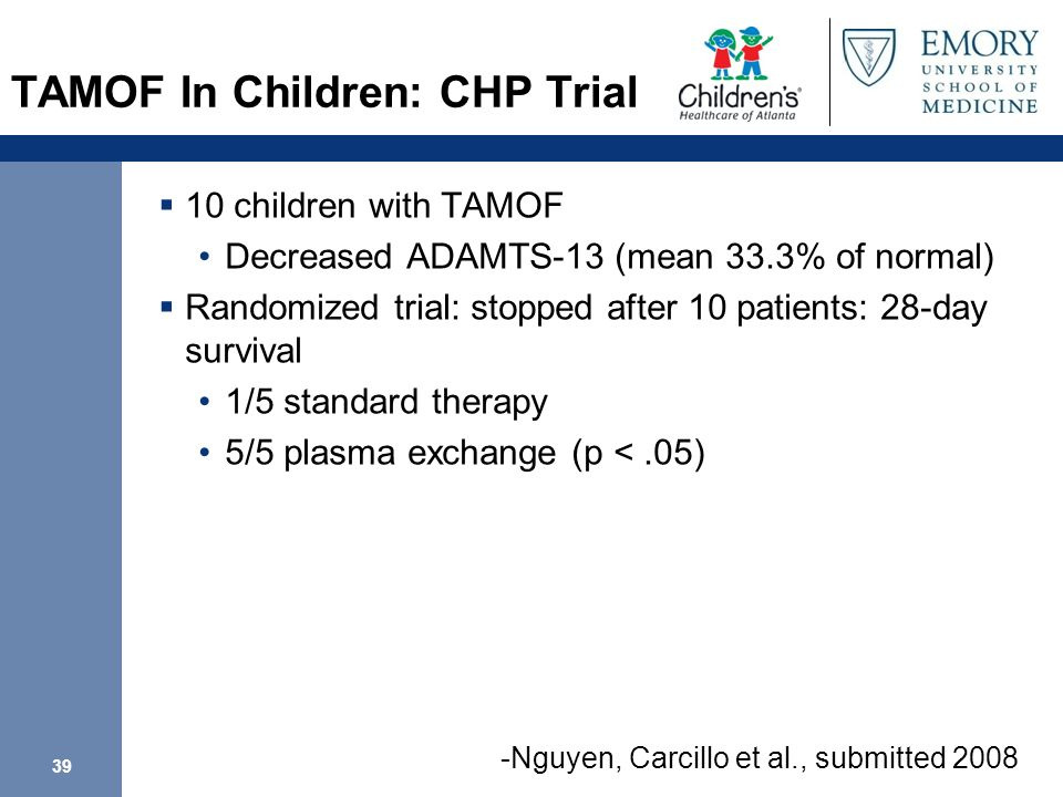 TAMOF In Children: CHP Trial