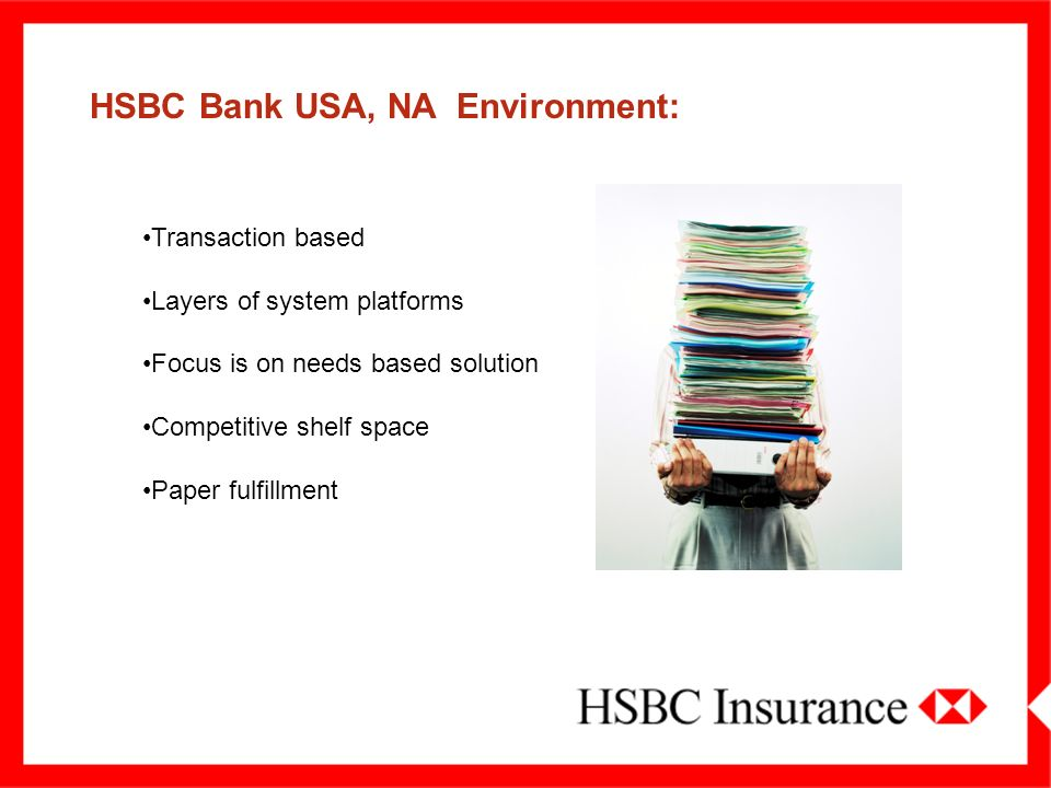 HSBC BANK – A FEW FACTS WHO WE ARE HSBC Bank is one of the largest