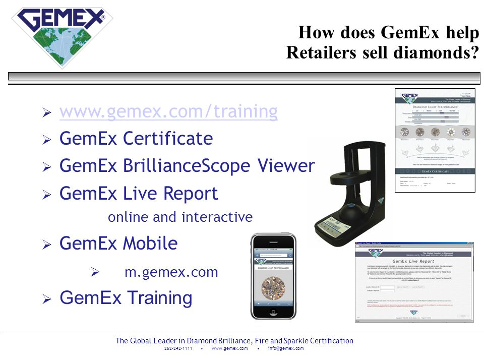 How does GemEx help Retailers sell diamonds