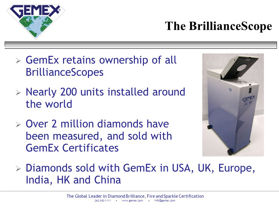The BrillianceScope GemEx retains ownership of all BrillianceScopes
