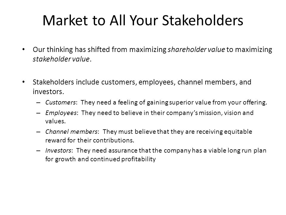 Market to All Your Stakeholders