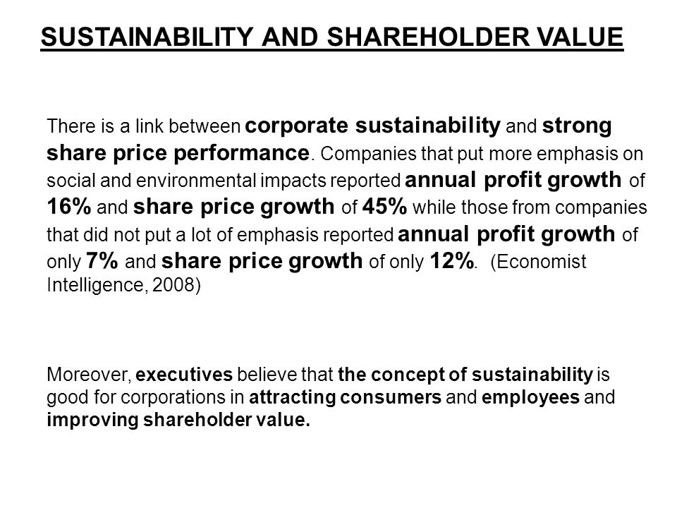 SUSTAINABILITY AND SHAREHOLDER VALUE