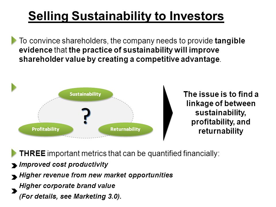 Selling Sustainability to Investors