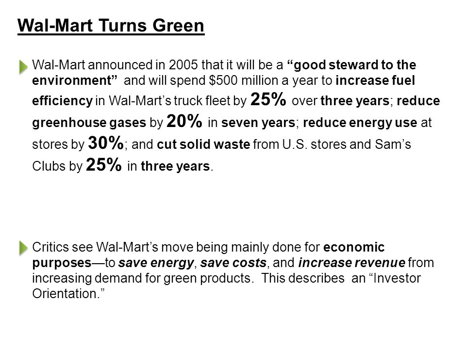 Wal-Mart Turns Green