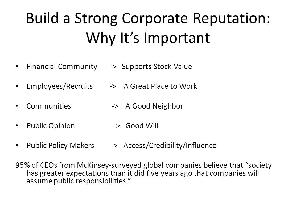 Build a Strong Corporate Reputation: Why It's Important