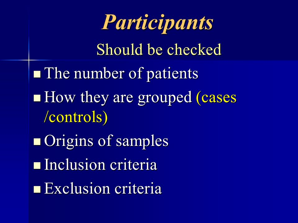 Participants Should be checked The number of patients
