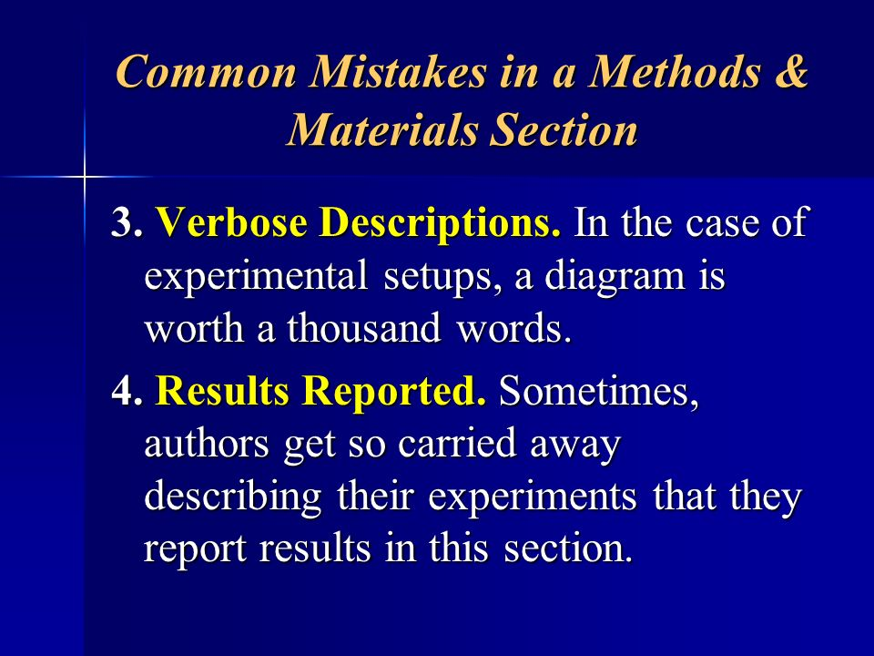Common Mistakes in a Methods & Materials Section