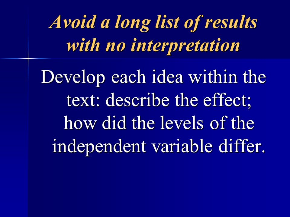 Avoid a long list of results with no interpretation