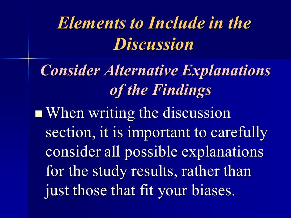 Elements to Include in the Discussion