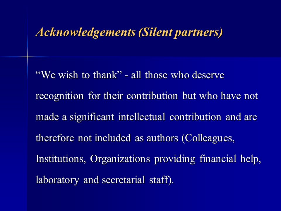 Acknowledgements (Silent partners)
