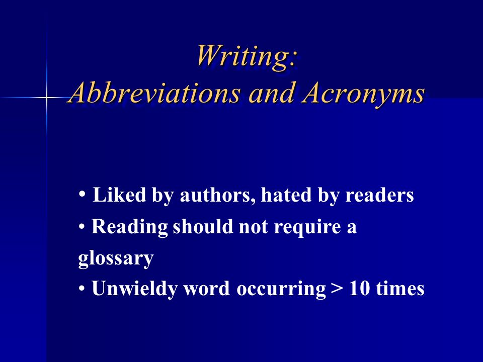 Writing: Abbreviations and Acronyms