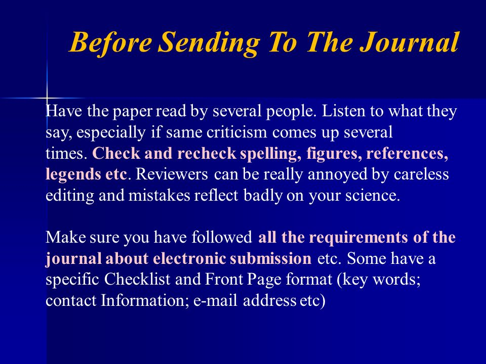 Before Sending To The Journal