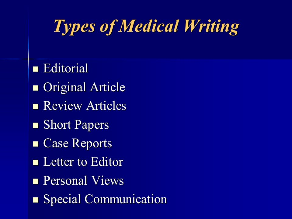 Types of Medical Writing