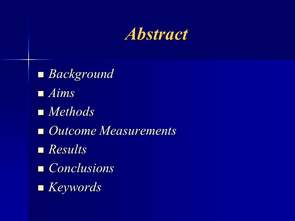 Abstract Background Aims Methods Outcome Measurements Results