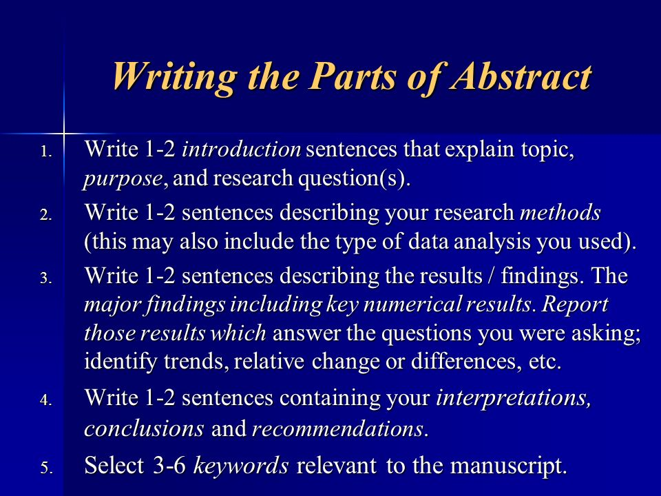 Writing the Parts of Abstract