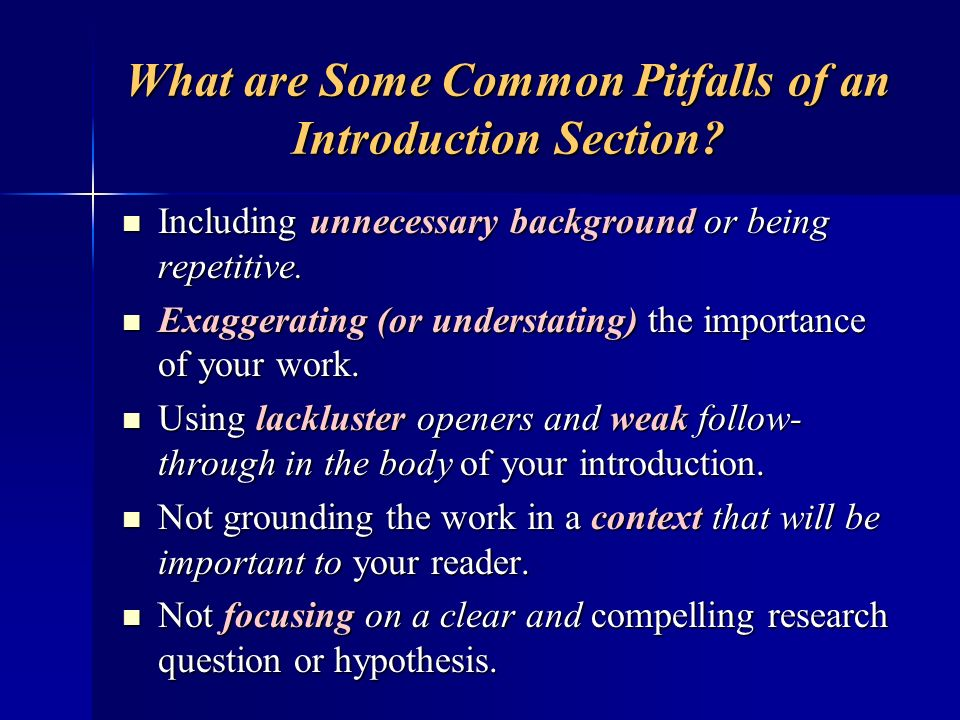 What are Some Common Pitfalls of an Introduction Section