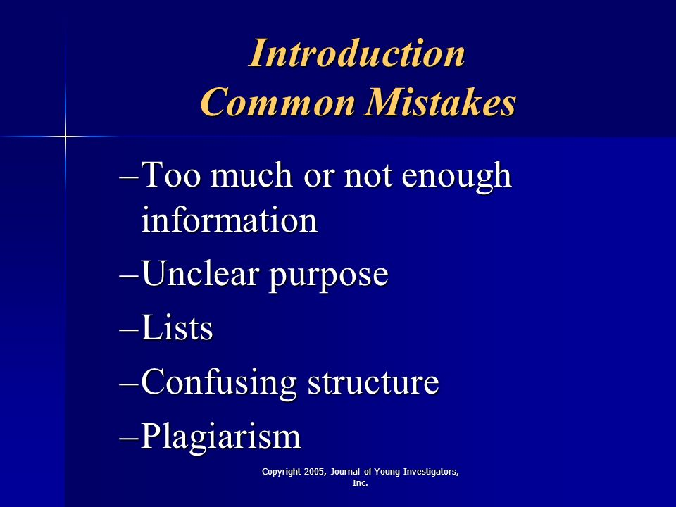Introduction Common Mistakes