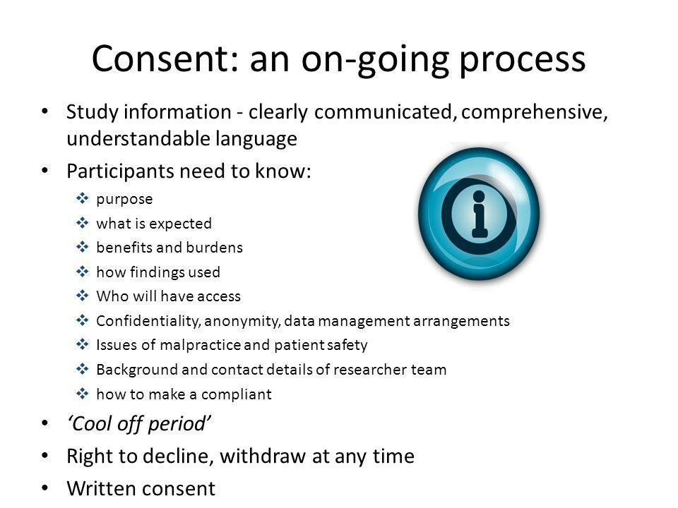 Consent: an on-going process
