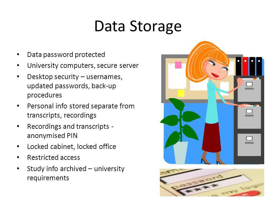 Data Storage Data password protected