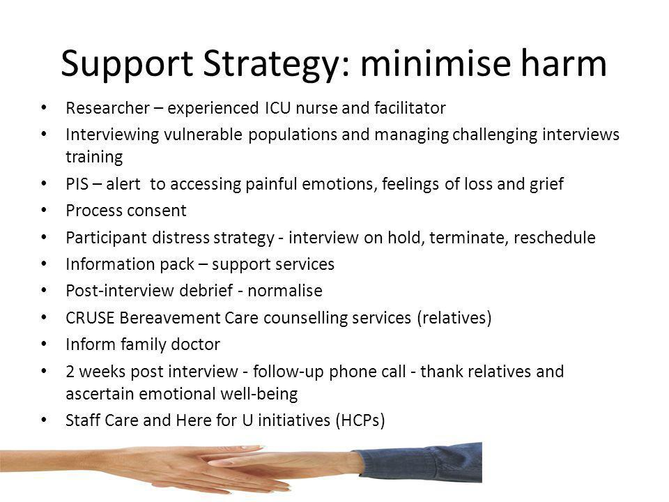 Support Strategy: minimise harm