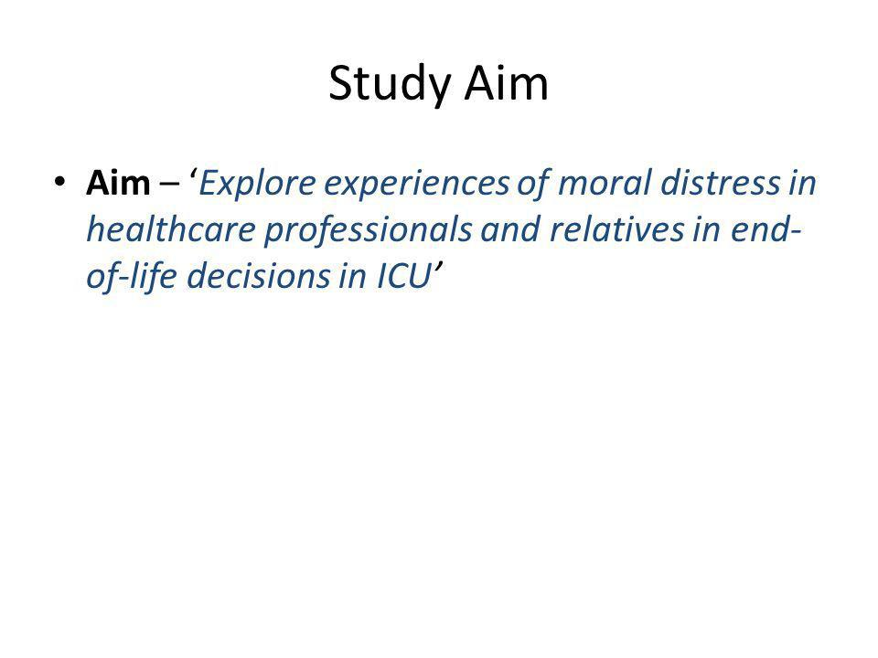 Study Aim Aim – 'Explore experiences of moral distress in healthcare professionals and relatives in end-of-life decisions in ICU'