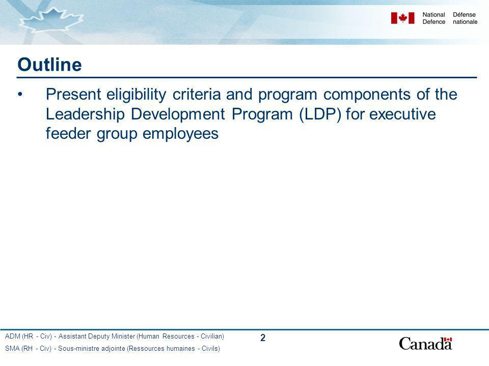 Outline Present eligibility criteria and program components of the Leadership Development Program (LDP) for executive feeder group employees.