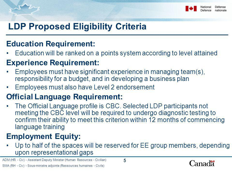 LDP Proposed Eligibility Criteria