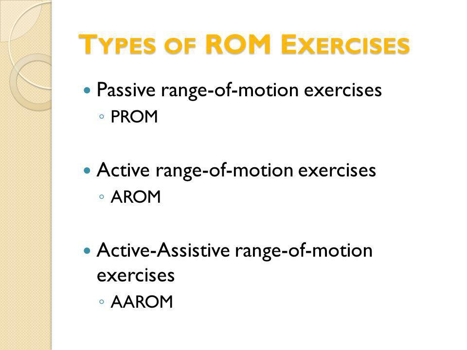 Types of ROM Exercises Passive range-of-motion exercises