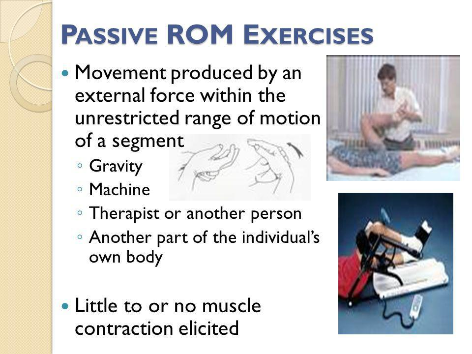 Passive ROM Exercises Movement produced by an external force within the unrestricted range of motion of a segment.
