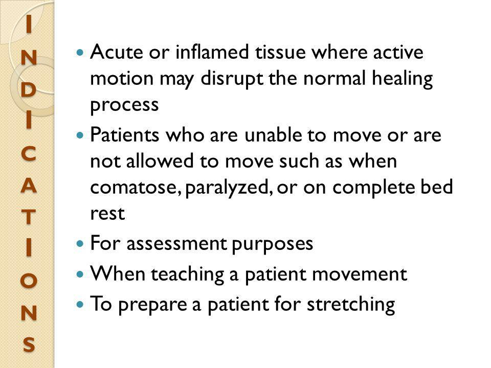 I n d I c a t I o n s Acute or inflamed tissue where active motion may disrupt the normal healing process.