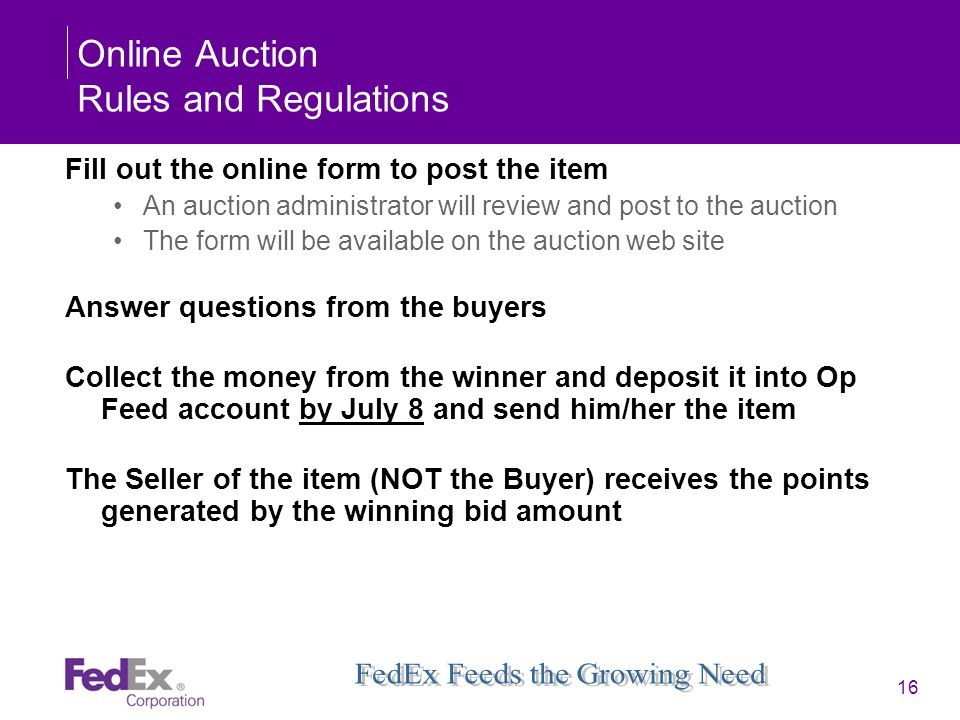 Online Auction Rules and Regulations