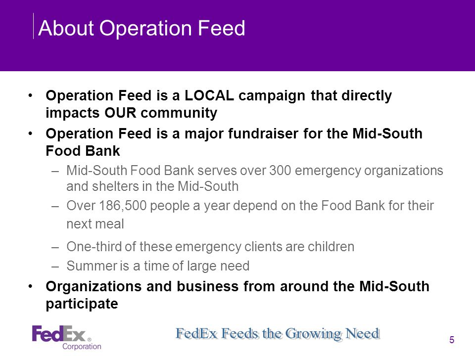 About Operation Feed Operation Feed is a LOCAL campaign that directly impacts OUR community.