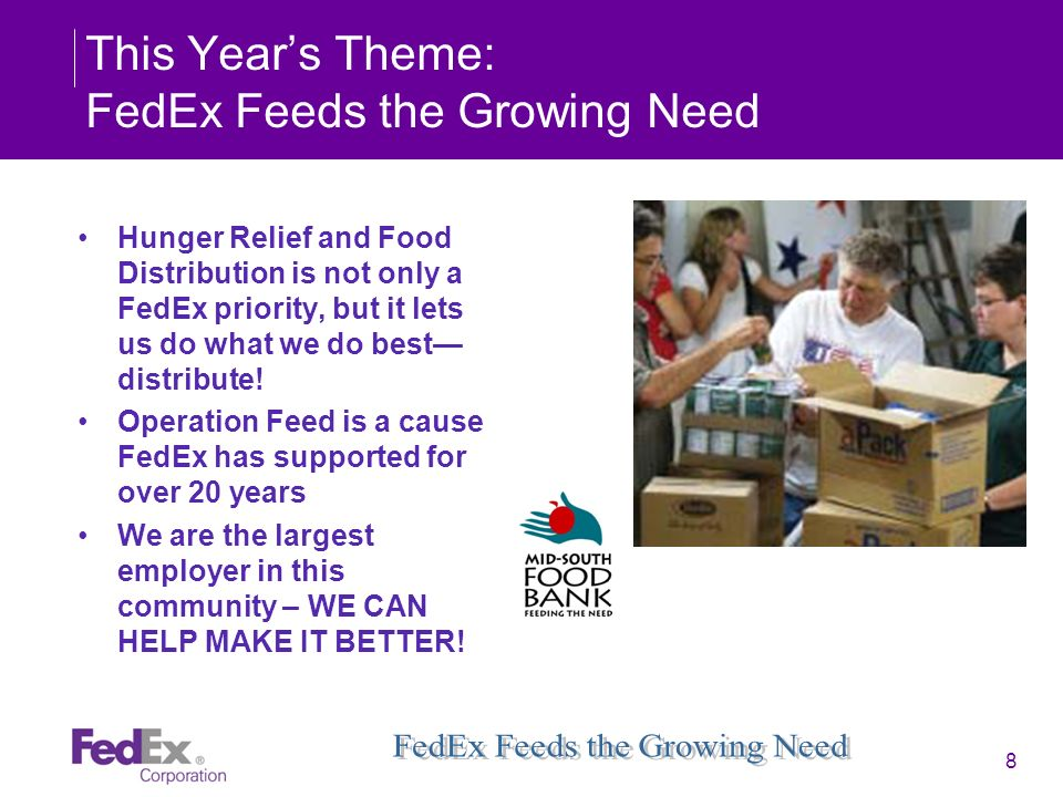This Year's Theme: FedEx Feeds the Growing Need
