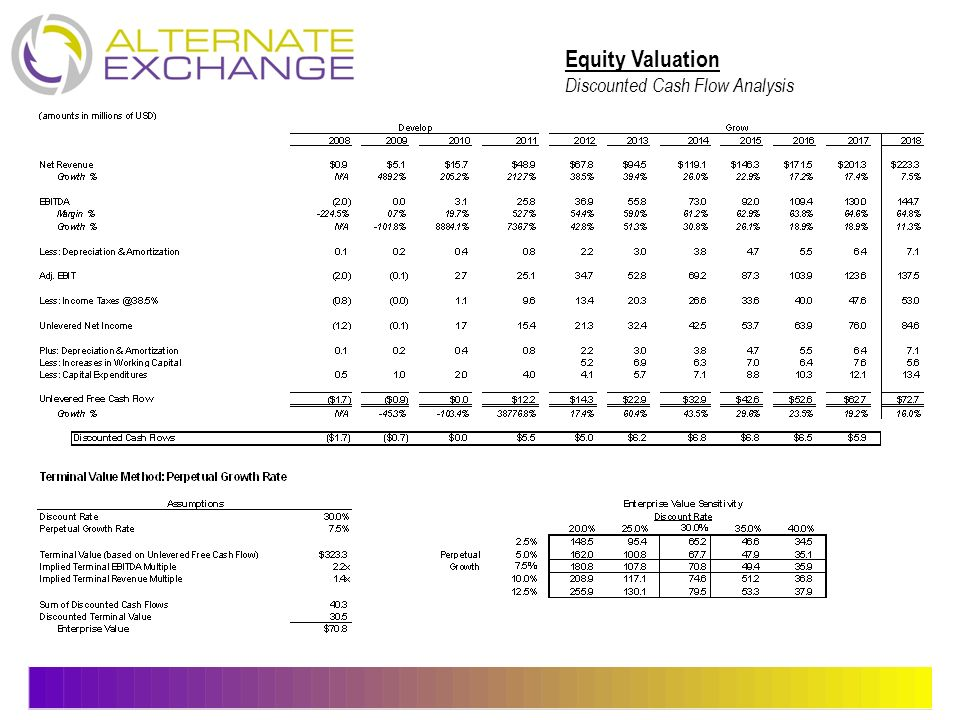 Equity Valuation Discounted Cash Flow Analysis