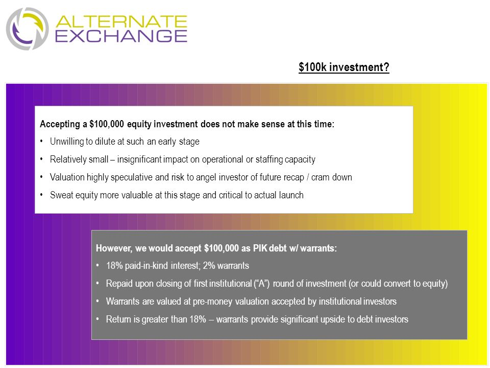 $100k investment Accepting a $100,000 equity investment does not make sense at this time: Unwilling to dilute at such an early stage.