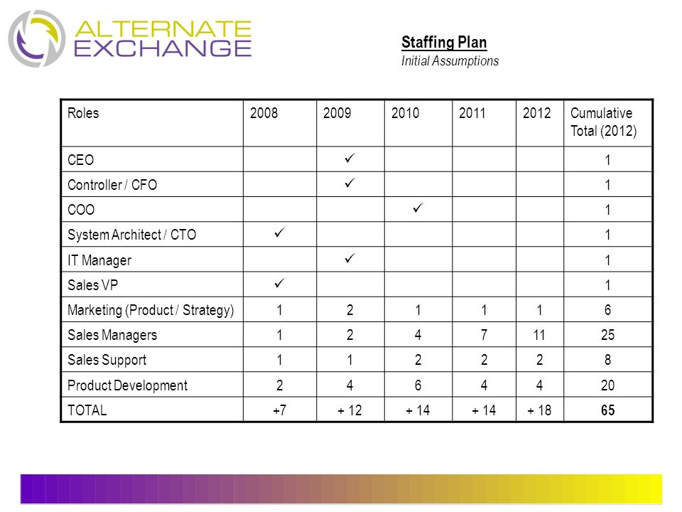 Staffing Plan Roles 2008 2009 2010 2011 2012 Cumulative Total (2012)