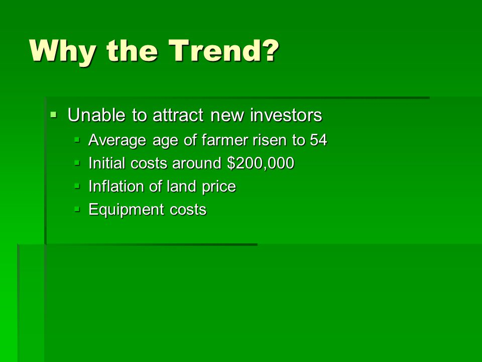 Why the Trend Unable to attract new investors