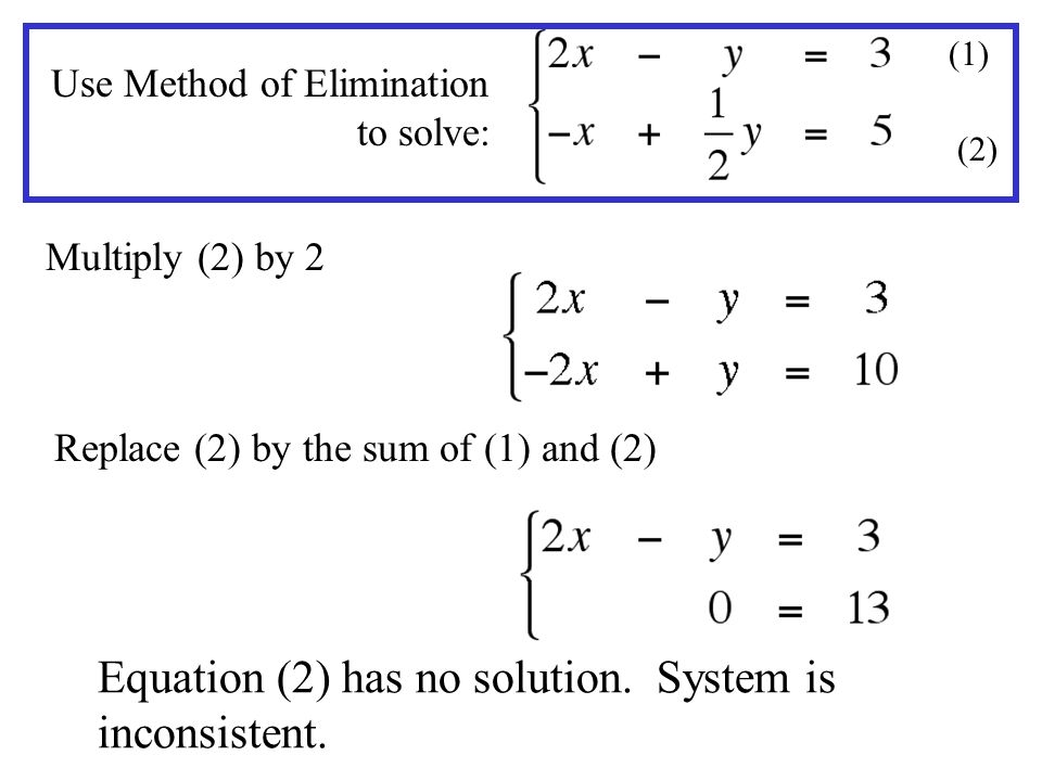 Equation (2) has no solution. System is inconsistent.