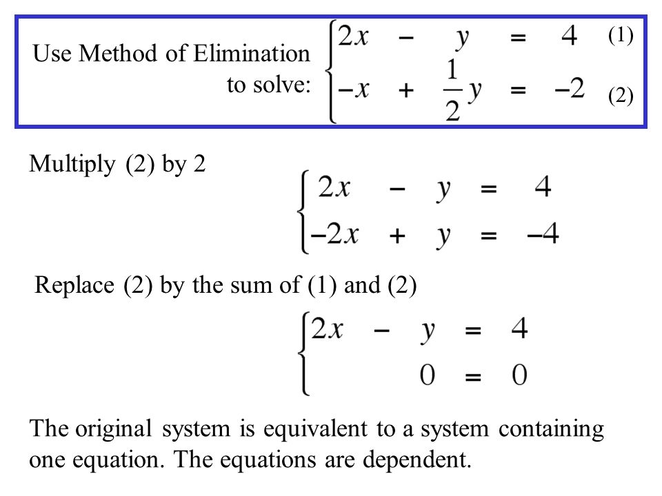 Use Method of Elimination to solve: