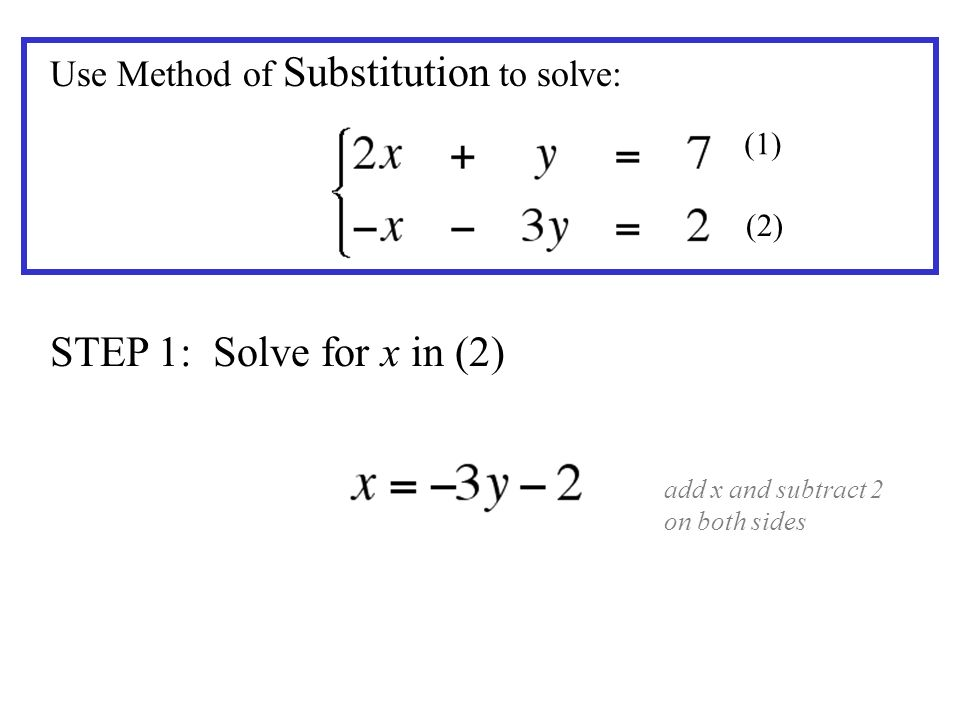 STEP 1: Solve for x in (2) Use Method of Substitution to solve: (1)
