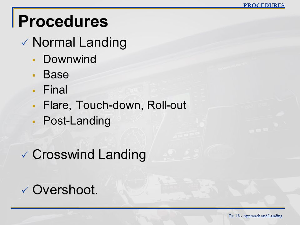 Procedures Normal Landing Crosswind Landing Overshoot. Downwind Base