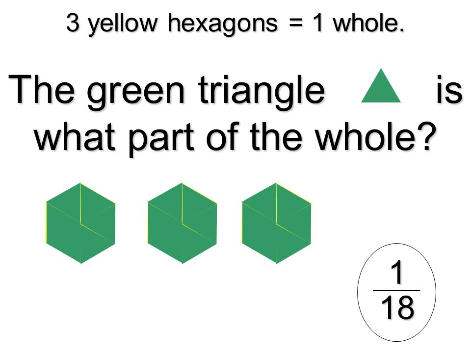 3 yellow hexagons = 1 whole.