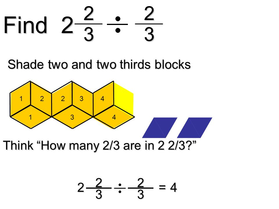 Find Shade two and two thirds blocks = 4